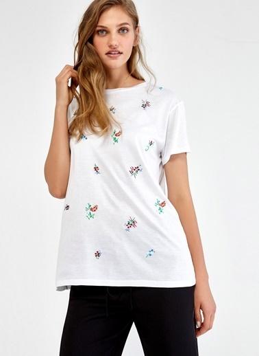 Ipekyol Çiçek Desenli Yarım Kol Bluz Beyaz